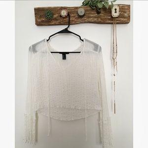 Ivory Bell Sleeved Crop Top